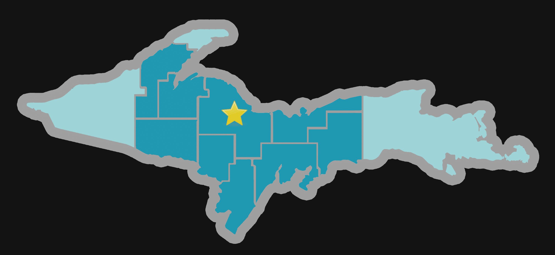 Gwinn on UP map
